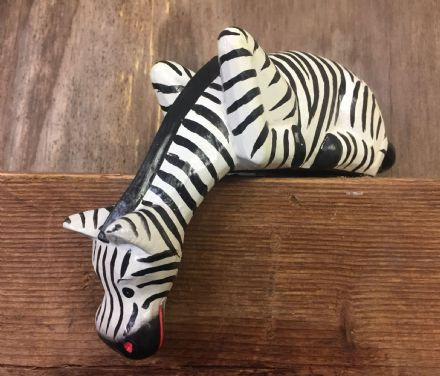 Handcrafted Zebra Wooden Animal Shelf Ornament